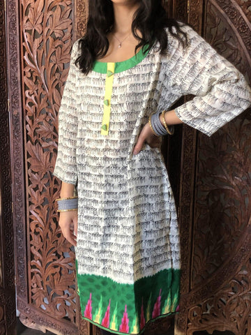 Womens Tunic Blouse Green White Mantra Printed Long Sleeves Ethnic Indian Yoga Kurta Dress M - mogulgallery