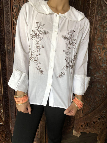 Womens 70s Retro Shirt, White Embroidered Brown Blouse Casual Handmade Bohemian Summer Cotton Tops M - mogulgallery