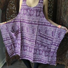 Womens Boho Summer Wrap Dress, Mantra Printed Purple beach Dresses, Boho Chic Womens Sleeveless Dresses ML - mogulgallery