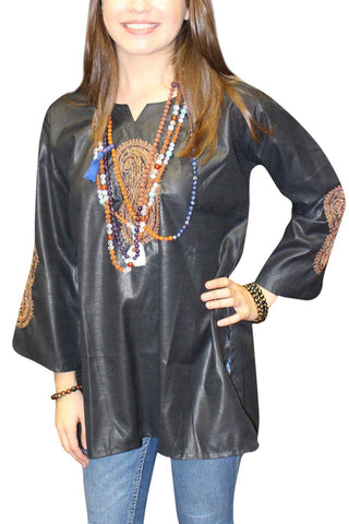 Bohemian Boho Chic Women's Black Paisley Embroidery Tunic Blouse Long Sleeves Kurta Top S - mogulgallery