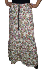 Womens MAxi Skirt Floral Printed Summer Comfy Gypsy Hippie Maxi Skirt A-Line Flared Long Skirts ML - mogulgallery