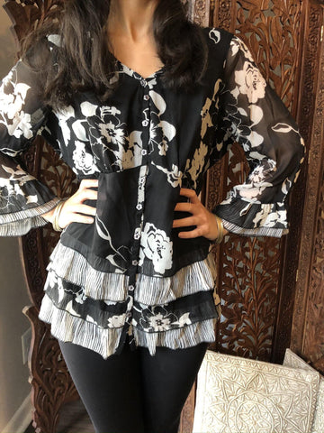 Women Boho Blouse, Soft Chiffon Black Floral  Top Blouse, Frill Style Sleeves, Casual Summer Blouse/Top SM - mogulgallery