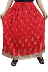 Women Red Maxi Skirt, Crinkled Printed Golden Bootis with Lace, Beach Bohemian Long Skirt SM - mogulgallery