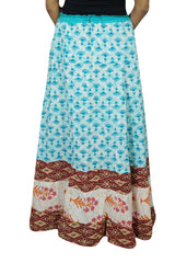 Womens Maxi Skirt, Blue Floral Printed Bohemian Skirt, Cotton Flared Beach Summer Gypsy Long Skirts M/L - mogulgallery