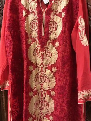 Women's Tunic Dress Sheer Georgette Chikankari Coral Pink White Hand Embroidered Bohemian Cover Up Ethnic Long Tunic 2xL - mogulgallery