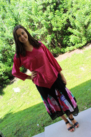 Womens Boho Skirt , Bohemian pINK bLOUSE Gypsy Bohemian Maxi Skirt M 2PC SET - mogulgallery