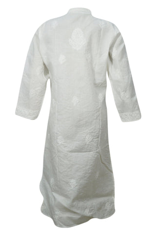 Women's Tunic Dress, Cotton White Long Housedress Tunic Floral Hand Embroidery Caftan Casual Summer Dresses ML - mogulgallery