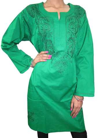Womens Tunic Dress Green Floral Embroidered cotton Summer Boho chic Style Gypsy chic Blouse Kurti M - mogulgallery