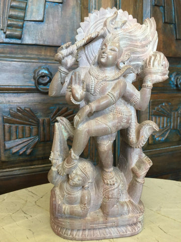 Dancing Shiva Transformation Vintage Stone Hindu Lord Shiva Tandav Dance Statue Home Decor - mogulgallery