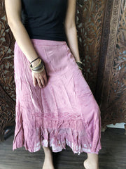 Womens Maxi Ruffle Skirts, Pink Stonewashed Summer Skirt, Embroidered Bohemian Skirt, A-line Peasant Skirts S/M - mogulgallery