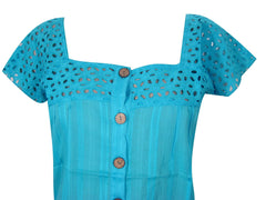 Womens Bohemian Blouse, Cotton Cutwork Gypsy Chic Blue Solid Top, Summer handmade Boho Shirt S - mogulgallery