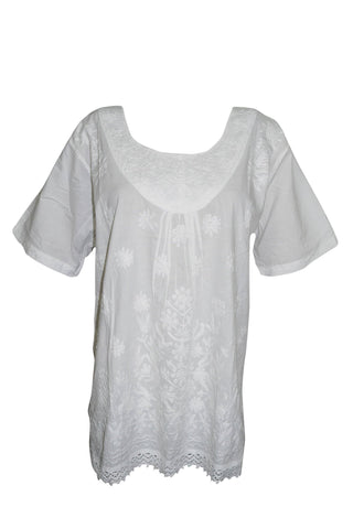 Women's BLOUSE, Soft White Cotton Tunic, Embroidered Short Sleeves sTAY aT hOME Blouse Shirt XL - mogulgallery