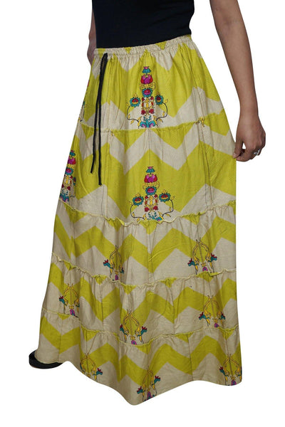 Womens Maxi Skirt Floral Green Beige Printed Handmade Gypsy Boho Skirts, full length Summer Beach Long Skirts M/L - mogulgallery