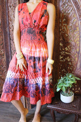 Womens Summer Dress, Red Cotton Printed Dresses, Summer Comfy Handmade Sleeveless House Dresses M - mogulgallery