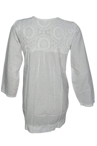 Womens White Cotton Tunic Blouse Floral Embroidered Summer BOHO Chic Kurti Kurta XS - mogulgallery