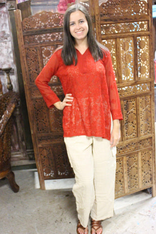 Womens Harem pants White Handloom Cotton, RED Bohemian Blouse Shirt Embroidered Tunic M/L, 2 PC SET - mogulgallery