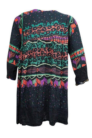 Babydoll Boho Dress Vintage 70s Funky Hippy Fashion Resort Coverup bLACK cOLORFUL loose dresses One Size SML - mogulgallery