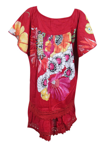 Womens Summer Gypsy Dresses, Boho Red Floral Printed Loose Vintage 70s BEACH Dress ML - mogulgallery