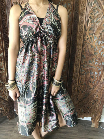 Womens Midi Dress , Printed  Summer dresses, Black floral printed, Soft Satin Beach Dress, SM - mogulgallery