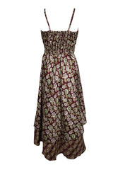 Womens Brown Floral Dress ,Recycled Sari Printed Sundress, Layered Spaghetti Strap Beach Dresses, SM - mogulgallery