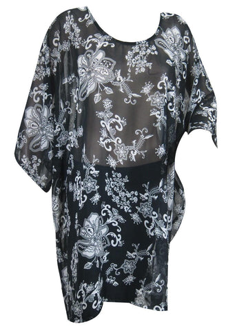 Womens Kaftan Top , Soft Chiffon Floral Cover Up Sheer Beach Caftan, Floral Summer Resort Kaftan ML - mogulgallery