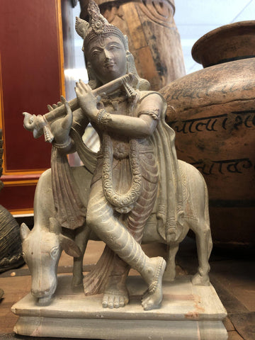 Krishna Playing Flute With Cow Sculpture, Carved Stone Statue, Hindu God of Love, Divine Joy,  Home Altar - mogulgallery