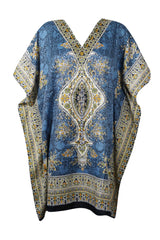 Womens Short Kaftan Dresses, Casual Dress, Coverup, Blue Dashiki Summer Caftan Dress, Boho Vacation Housedresses 3XL - mogulgallery