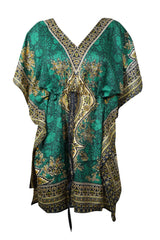 Womens Caftan Dresses, Knee Length Summer Casual Dress, Green Dashiki Printed Kaftan Dress, Comfortable Lounger Housedress Plus Size 2XL - mogulgallery