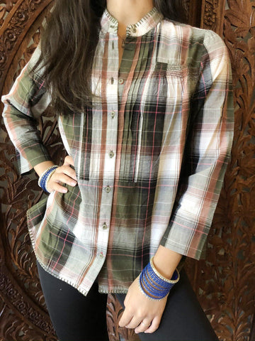 Women's Plaid Shirt, Summer Blouse Casual Plaid Cotton Bohemian Blouse Tops M - mogulgallery