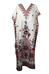 Women's Kaftan Maxi Dress, Black Red Printed, Loose Dresses, Holiday Fashion Handmade Summer Caftan Dresses 3X - mogulgallery