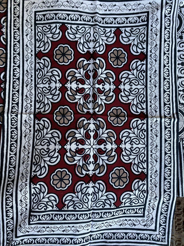 Indi Boho Throw, White Red Floral Paisley Bedspread, Block Printed Cotton Picnic Throw, Handloom Cotton Pillows Bed Cover - mogulgallery