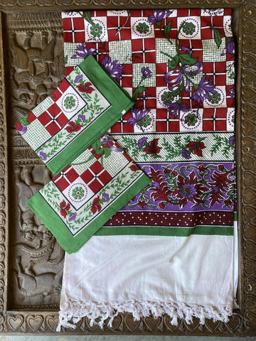 Indi Boho Floral Paisley Bedspread, Red Green Block Printed Throw, 2 Handloom Cotton Pillows, Bed Cover, Picnic Blanket, TABLECLOTH - mogulgallery