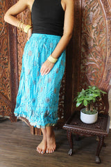 Womens Summer Skirt, Blue Printed Indi Boho Skirt, Bohemian Cotton Beach Skirt, Crinkled Skirts S - mogulgallery