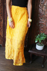 Women Yellow Maxi Skirt, Crinkled Printed with Lace Work , Beach Bohemian Long Skirt SM - mogulgallery