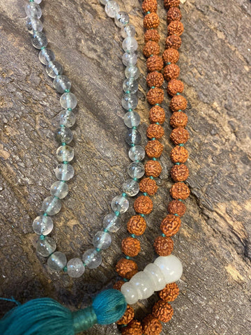 Accomplishments- Karya Sidhi Yantra, Handmade Knotted Crystal Quartz Happiness Necklaces Necklaces Yoga Meditation Mala - mogulgallery