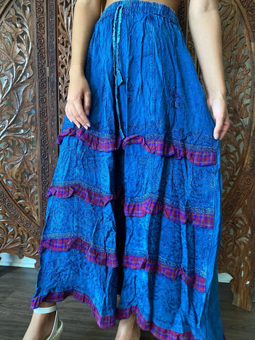Women's Maxi Skirts, Blue Bohemian Tiered Skirts, Fall Summer Beach Casual Boho Long Skirt M - mogulgallery