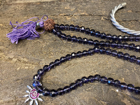 Prayer Mala Necklace/bracelet Purple Beads Mala, Silver Finish Copper Designer Twisted Cuff Bracelets Meditation - mogulgallery