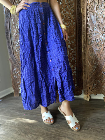 Women's Maxi Skirt, Blue Embroidered Skirt, Summer Fashion Button Down Bohemian Gypsy Skirts SM - mogulgallery