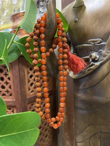 Prayer Beads Japamala Rudraksha Carnelian Yoga Happiness Necklace with HARE KRISHNA Adjustable Copper Cuff Bracelet Wrist Bracelet - mogulgallery