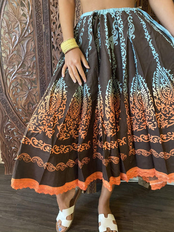 Womens Midi Skirt, Black Blue Printed Flare Super Flare Gypsy Bohemian Summer Fall Indi Skirts M - mogulgallery