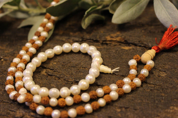 Mala Beads Clearing Energies Pearl Beads Rudraksha Japamala Yoga Necklace Pearls Accent Off White Stretch Wrist Bracelets Conscious Design - mogulgallery