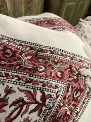 Indi Boho Pink Floral Paisley Bedspread, Block Printed Cotton THrow, Handloom Cotton Pillows Bed Cover, Picnic Blanket, TABLECLOTH - mogulgallery