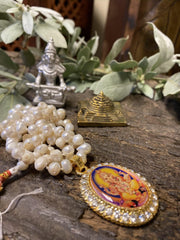 Japamala Ganesha Yoga Necklace Pearls Beads, Meditation Altar, Parad Annapurna With Brass Meru Yantra - mogulgallery
