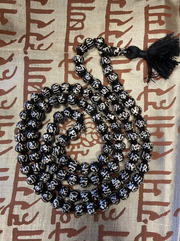 Tibetan Black YAKBONE Mala OmJapa Chanting Mala Necklace ,Energetic Beads White Ageta Moonstone Priciouse Meditation Wrist Bracelets - mogulgallery
