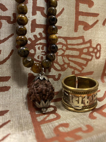 Rahu Ketu Mala, Courage Integrity Mala Beads, Natural Tiger Eye Yoga Necklace, Om Namah Shivaya Ring - mogulgallery