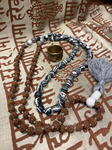 SMOKY OBSIDIAN Meditation mala for Protection Rudraksha Mala, OM Namah Shivaya Healing Copper Therapy Ring - mogulgallery