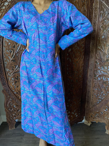 Womens Tunic Maxi Dress , Vintage Retro Paisley BLue Silk Printed Long Tunic , Bohemian Chic Midi Dresses Ethnic ML - mogulgallery