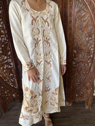 Womens Tunic Maxi Dress, Ivory Golden Embroidered Silk Gorgeous Luxurious Bohemian Kurti Indian Dress ML - mogulgallery