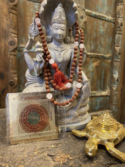 Wealth Altar, Sunstone Mala, Rudraksha Guru Bead Japa Mala, Pink Rose Quartz Wealth Kuber Yantra, Sri Yantra on Tortoise - mogulgallery