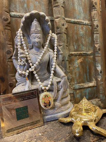 Success Altar - Budh YAntra, Moon Pearls Mala Jewelry, Handmade Sacred Geometry, Brass Meru YAntra on Tortoise - mogulgallery